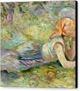Shepherdess Resting Canvas Print by Berthe Morisot
