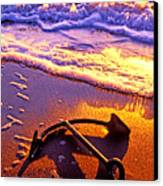Ships Anchor On Beach Canvas Print by Garry Gay