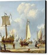 Ships In Calm Water With Figures By The Shore Canvas Print by Abraham Storck