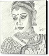 Shobana Chandrakumar-bharatanatyam Dancer Canvas Print by Priya Paul