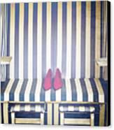 Shoes In A Beach Chair Canvas Print
