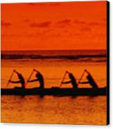 Side View Of Paddlers Canvas Print by Joe Carini - Printscapes