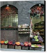Siena Italy Fruit Shop Canvas Print by Mark Czerniec