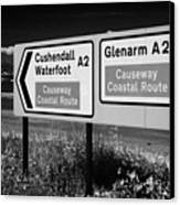 Signposts For The Causeway Coastal Route At Carnlough Between Cushendall And Glenarm County Antrim Canvas Print