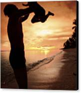 Silhouette Family Of Child Hold On Father Hand Canvas Print by Anek Suwannaphoom