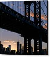 Silhouette Of The Manhattan Bridge Canvas Print by Dick Wood