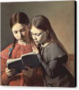 Sisters Reading A Book Canvas Print by Carl Hansen