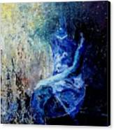 Sitting Young Girl Canvas Print by Pol Ledent