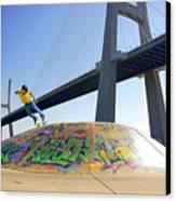 Skate Under Bridge Canvas Print by Carlos Caetano