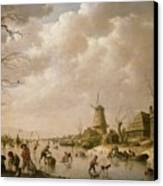 Skaters On A Frozen Canal Canvas Print by Hendrik Willem Schweickardt