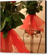 Skirted Roses In Mirror Canvas Print