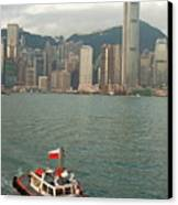 Skyline Across The Harbor From Kowloon In The Morning Canvas Print by Sami Sarkis