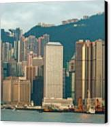 Skyline From Kowloon With Victoria Peak In The Background In Hong Kong Canvas Print by Sami Sarkis