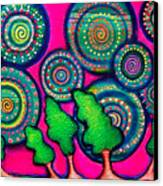 Skyrockets At Night Canvas Print by Brenda Higginson