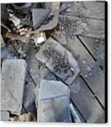 Slate On Floor Boards Canvas Print by Terry  Wiley