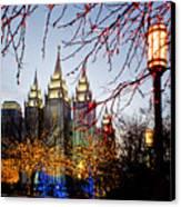 Slc Temple Lights Lamp Canvas Print by La Rae  Roberts