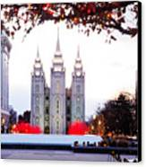 Slc Temple Red And White Canvas Print by La Rae  Roberts