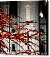 Slc Temple Red White N Black Canvas Print by La Rae  Roberts