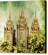 Slc Vintage Green Canvas Print by La Rae  Roberts