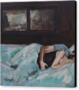 Sleeping In Canvas Print by Leslie Allen