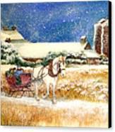 Sleigh Ride At Brickers Canvas Print