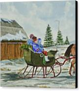 Sleigh Ride Canvas Print by Charlotte Blanchard