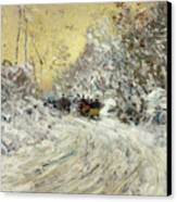 Sleigh Ride In Central Park Canvas Print by Childe Hassam