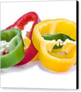 Sliced Colorful Peppers Canvas Print