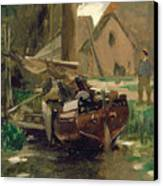Small Harbor With A Boat  Canvas Print by Thomas Ludwig Herbst