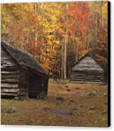 Smoky Mountain Cabins At Autumn Canvas Print by Andrew Soundarajan
