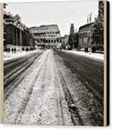 Snow At The Colosseum - Rome Canvas Print
