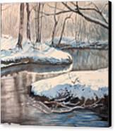Snow On Riverbank Canvas Print