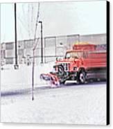 Snow Plow In Business Park 1 Canvas Print by Steve Ohlsen