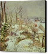 Snow Scene Canvas Print by Camille Pissarro