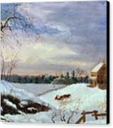 Snow Scene In New England Canvas Print by American School