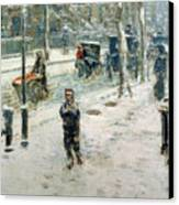 Snow Storm On Fifth Avenue Canvas Print by Childe Hassam