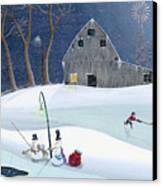 Snowmen On Hockey Pond Canvas Print