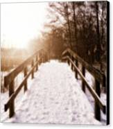Snowy Bridge Canvas Print by Wim Lanclus