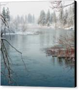 Snowy Day On The River Canvas Print by Beve Brown-Clark Photography