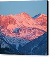 Snowy Mountain Range With A Rosy Hue At Sunset Canvas Print by Sami Sarkis