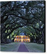 Southern Manor Home At Night Canvas Print by Jeremy Woodhouse