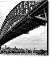 Spanning Sydney Harbour - Black And White Canvas Print
