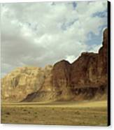 Sparse Tussock And Rock Formations In The Wadi Rum Desert Canvas Print by Sami Sarkis