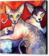 Sphynx Cats Sphinx Family Painting  Canvas Print