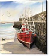 Spiddal Harbour Canvas Print by Vanda Luddy