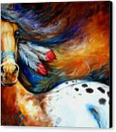 Spirit Indian Warrior Pony Canvas Print by Marcia Baldwin