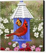 Spring Cardinals Canvas Print by Crista Forest