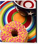 Sprinkled Donut On Circle Plate With Bowl Canvas Print