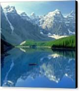 S.short Canoeist, Moraine Lake, Ab, Fl Canvas Print by Steve Short