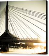 St. Boniface Bridge At Winter Sunrise Canvas Print by Michael Knight